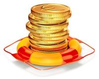 与的Lifebuoy资本保存的硬币 库存例证
