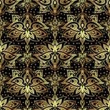 与皇家百合的典雅的无缝的样式 在黑色背景的金黄花 免版税库存图片