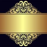 与皇家金黄边界和丝带的豪华背景 免版税库存照片