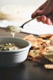 与皮塔饼芯片的Hummus 免版税库存照片