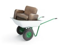 与皮革扶手椅子的独轮车 库存照片