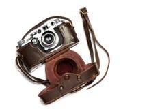 与皮革案件的葡萄酒照相机 库存图片