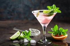 与盐味的外缘、新鲜的石灰和葡萄柚汁、冷的夏天柑橘刷新的饮料或者饮料的玛格丽塔鸡尾酒与冰 库存图片