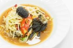 与盐味的螃蟹的辣番木瓜沙拉 图库摄影