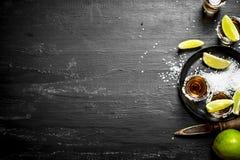 与盐和石灰的龙舌兰酒 库存照片