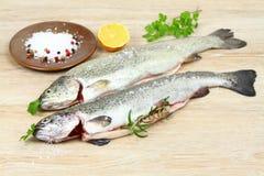 与盐的新鲜的未加工的鳟鱼鱼烹调的在木桌上 免版税库存照片