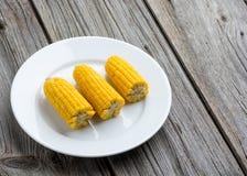 与盐的煮沸的甜玉米玉米棒在木 免版税库存照片