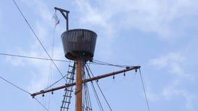 与监视和索具, Hansekogge的大帆柱 免版税库存图片
