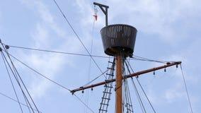 与监视和索具, Hansekogge的大帆柱 库存图片