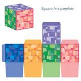 与盒盖的五颜六色的方形框模板 免版税库存图片