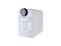 与盒盖的白色塑料加仑在白色 免版税库存图片