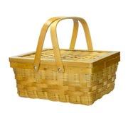 与盒盖的竹篮子 免版税库存图片