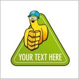 与盔甲的动画片在绿色标志的手套和风镜 免版税库存图片
