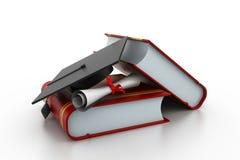 与盖帽和文凭的毕业概念 免版税库存照片