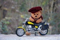 与盖帽的玩具熊在摩托车后站立 库存照片