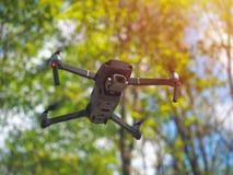 与盘旋在forrest,自然本底里面的照相机的飞行的寄生虫 图库摄影