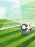 与目标、球和文本的足球场 免版税图库摄影