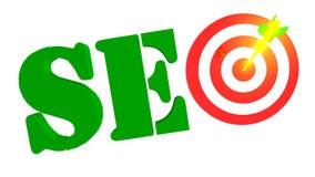 与目标和箭头在bulleye, 3D的SEO例证 免版税库存图片