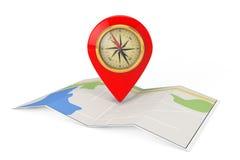 与目标Pin和指南针的被折叠的抽象航海地图 3D r 库存图片