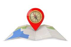 与目标Pin和指南针的被折叠的抽象航海地图 3D r 图库摄影