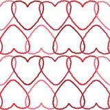 与相交的红色等高心脏的精美无缝的背景样式 免版税库存图片