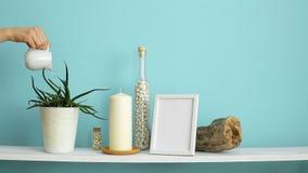 与相框大模型的现代室装饰 白色在瓶的架子对有蜡烛的淡色绿松石墙壁和岩石 ? 影视素材