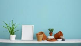 与相框大模型的现代室装饰 白色架子对有瓦器和多汁植物的淡色绿松石墙壁 ? 股票录像