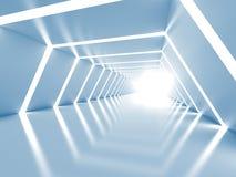 与相称白色光亮的隧道内部的抽象背景 免版税库存照片