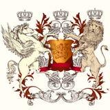 与盾、飞过的马和狮子的纹章学设计 免版税库存照片