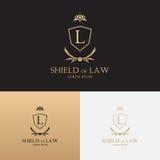 与盾的律师事务所商标 免版税库存图片
