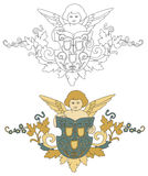 与盾老装饰的天使 免版税图库摄影