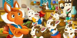 与看小山羊孩子的狐狸的动画片场面在古板的房子里 免版税库存图片