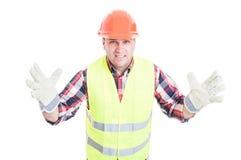 与看起来坏的态度的男性建造者愤怒 免版税库存照片