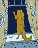 与看雪的猫的卡片 库存照片
