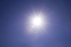 与真正的透镜火光的清楚的蓝天太阳光在焦点外面 免版税图库摄影