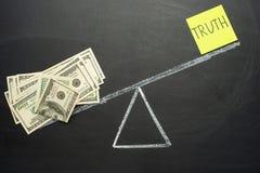 与真相和伪造品的标度 在黑板的概念 真相地方是美元 腐败的概念,而不是ve 库存图片