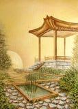 与眺望台的油画在亚洲日本庭院里 免版税库存照片
