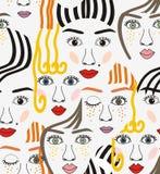 与眼睛、头发、鼻子和嘴唇的女孩面孔 免版税库存照片