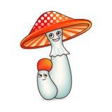 与眼睛的两个蘑菇 库存图片
