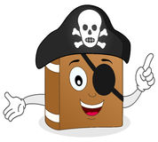 与眼睛补丁的逗人喜爱的动画片海盗书 库存照片