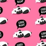 与睡觉在枕头的熊猫的无缝的样式 晚上好 包裹和纺织品的盖子 向量 库存照片