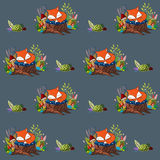 与睡觉小狐狸和蘑菇的样式 免版税图库摄影