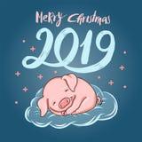 与睡觉小猪动画片例证的圣诞快乐2019手拉的字法 向量例证图片