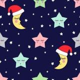 与睡觉星和月亮的无缝的样式与圣诞老人帽子孩子假日 免版税库存图片