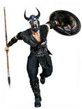 与矛和盾的北欧海盗攻击对被隔绝的白色背景 图库摄影
