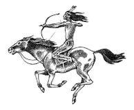 与矛的全国美洲印第安人骑乘马在手中 传统人 刻记手拉在老剪影 免版税库存照片