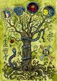 与知识树、蛇、苹果、钥匙和神奇标志的宗教概念 皇族释放例证