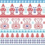 与矮子,星,玩具熊,雪,圣诞树的黑暗和浅兰,红色斯堪的纳维亚被启发的北欧人xmas无缝的样式, 库存照片