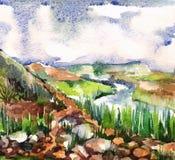 与石头和天空的水彩风景 皇族释放例证