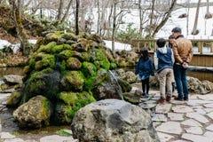 与石头的旅游在Fukidashi的家庭和青苔停放,被做了在区域那自然水由Mt Yotei在北海道,日本 免版税库存照片